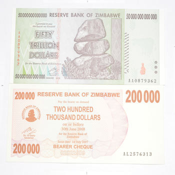 Pair 2008 50 TRILLION Dollar & Early Hyper Inflation Note Zimbabwe 100 Series