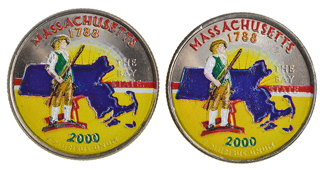 Pair Of (2) 2000 Massachusetts Colorized State Quarters
