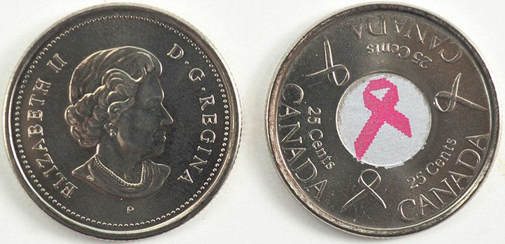 Pair of Two Colorized Canadian Uncirculated Quarters - Including A 2004 Poppy Flower And 2006 Breast Cancer Quarter