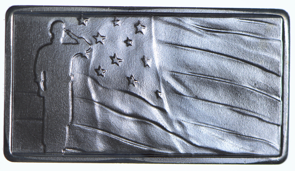 PATRIOTIC2.5 Gram .999 Fine Silver Bar -Soldier Standing By TheFlag- Only 300 Pcs Minted!