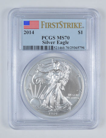 PERFECT - 2014 MS-70 First Strike American Silver Eagle PCGS - Highest Grade - Professionally Graded By PCGS!
