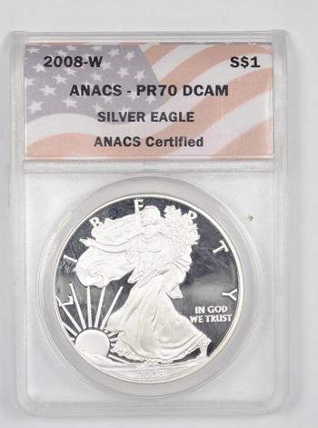PERFECT PF-70 - 2008-W American Silver Eagle - Graded ANACS
