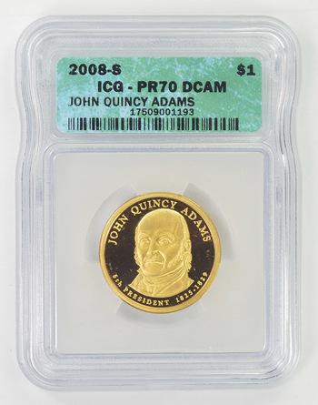 Perfect PR-70 Grade John Q. Adams 2008-SPROOF DCam Presidential Dollar ICG