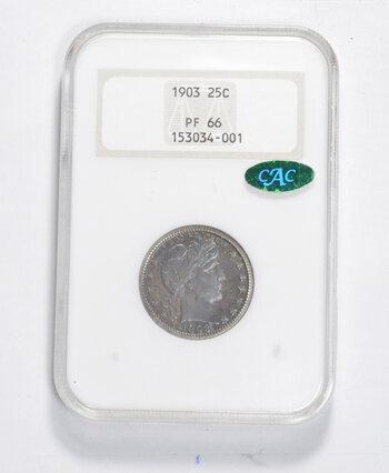 PF66 1903 CAC Barber Quarter - NGC Graded