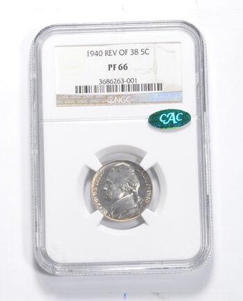 PF66 1940 Jefferson Nickel - Rev Of 38 - CAC - Graded NGC