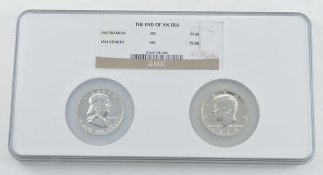 PF68 1963 Franklin & 1964 Kennedy Half Dollars - End Of An Era - Graded NGC