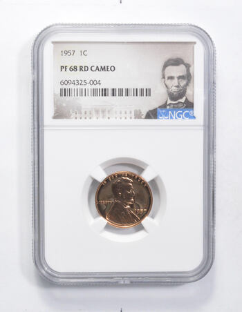 PF68 RD CAMEO 1957 Lincoln Wheat Cent - Graded NGC