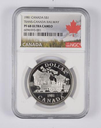 PF68 UCAM 1981 Canada $1 Silver - Trans-Canada Railway - Graded NGC