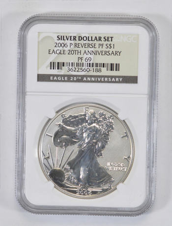 PF69 2006-P American Silver Eagle - 20th Anniversary Rev Proof - Graded NGC - Graded Slabs