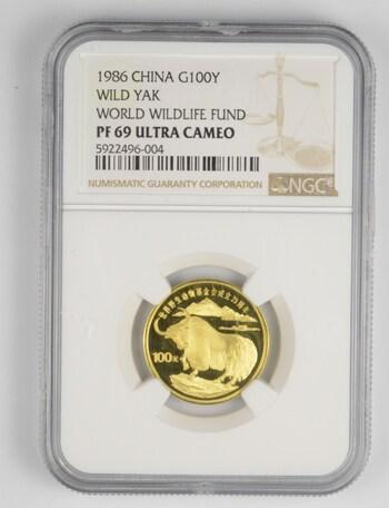 PF69 UCAM 1986 China Gold 100 Yuan - Wilk Yak - WWF - Graded NGC
