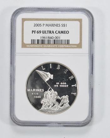 PF69 UCAM 2005-P Marine Corps Anniversary Silver Dollar - NGC Graded