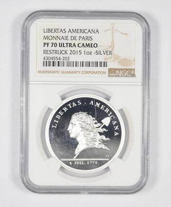 PF70 UCAM 2015 Libertas Americana 1 Oz. Silver - Monnaie De Paris - Restruck - COA - Graded NGC