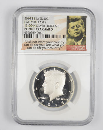 PF70 UCAM 2016-S Kennedy Silver Half Dollar - Early Releases - Graded NGC
