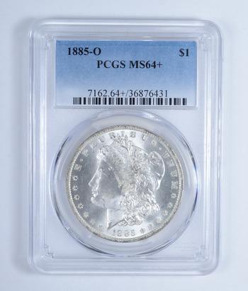 Plus Grade - MS-64+ 1885-O Morgan Silver Dollar - Professionally Graded BY PCGS