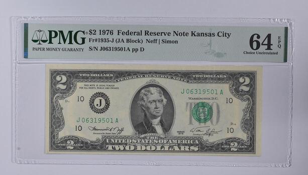 PMG Graded 64 EPQ $2 1976 FR#1935-J Bicentennial Note - Consecutive Run