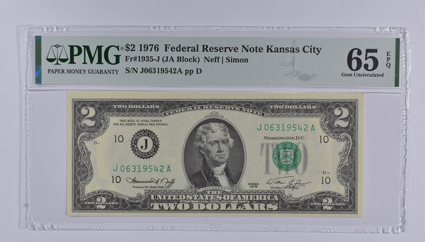 PMG Graded 65 EPQ $2 1976 FR#1935-J Bicentennial Note - Consecutive Run