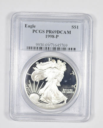 PR69 DCAM 1998-P American Silver Eagle - Graded PCGS