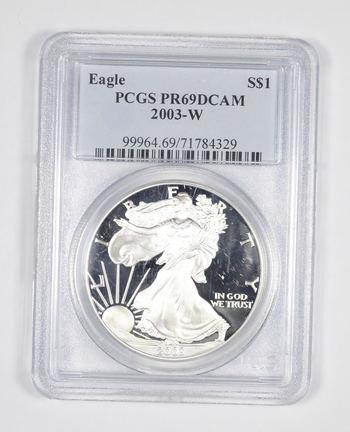 PR69 DCAM 2003-W American Silver Eagle - Graded PCGS