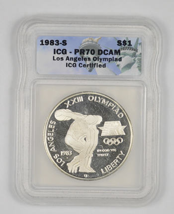 PR70 DCAM 1983-S Los Angeles Olympiad Commemorative Silver Dollar - Graded ICG