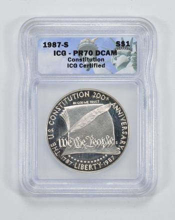 PR70 DCAM 1987-S Constitution Bicentennial Silver Dollar - ICG Graded