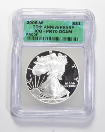 PR70 DCAM 2006-W American Silver Eagle - 20th Anniversary - Graded ICG