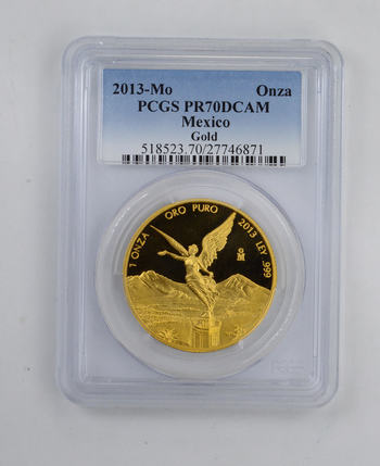 PR70DCAM 2013-Mo Mexico 1 Oz Gold .999 Libertad - PCGS Graded