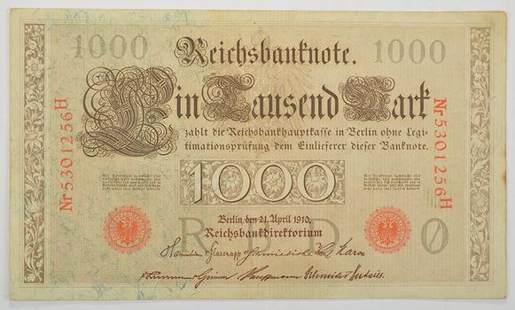 PRE-WWI - Large Germany 1910Berlin1000 Reichsbanknote