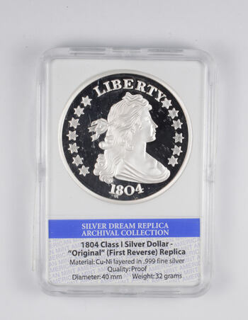 PROOF 1804 Silver Dollar First Rev. REPLICA - Limited Edition - American Mint Slabbed