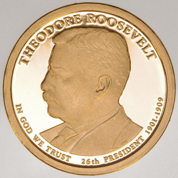 Proof Cameo 2013 Theodore Roosevelt - Twenty-Sixth President - Presidential Dollar Coin