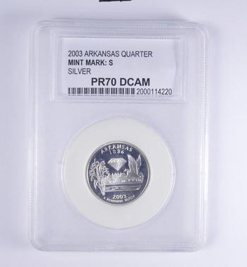 PROOF GRADED - SILVER PR70DCAM - ARKANSAS - 2003-S Washington State Quarter 90% Silver - PCC Graded