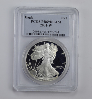 PROOF - PF-69 DCAM 2001-W American Silver Eagle 1 Oz - Graded By PCGS