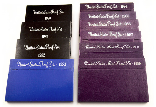 Proof Set Run 1980-1989 - Including 10 Complete Sets