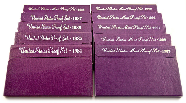 Proof Set Run 1984-1993 - Including 10 Complete Sets - 50 Coins!