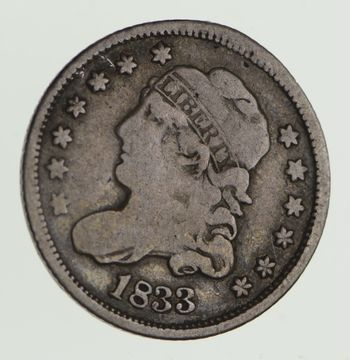 Rare 1833 Capped Bust Half Dime - Tough to Find - US Early Silver Coin