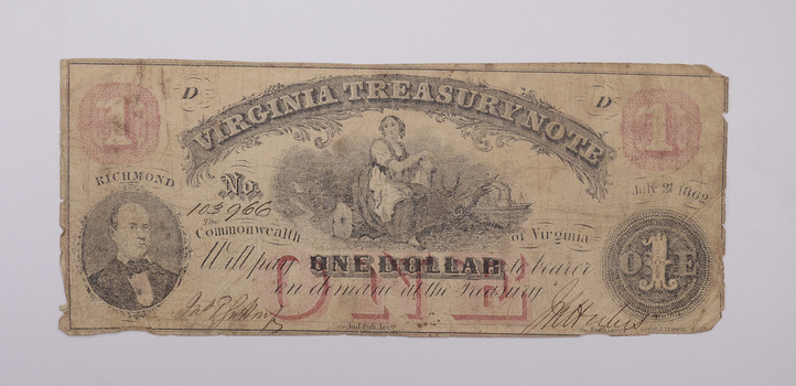 Rare - 1860's Virginia TREASURY Note - $1.00 Hand Signed - Over 150 Years Old