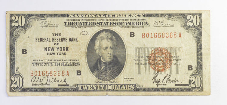 Rare - 1929 - $20.00 National Currency - New York, NY Federal Reserve Bank - Brown Seal