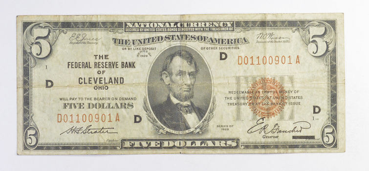 Rare - 1929 - $5.00 National Currency - Cleveland, OH Federal Reserve Bank - Brown Seal