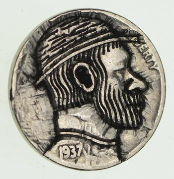 RARE - 1937 - Hand Engraved - HOBO NICKEL Buffalo - Highly collectible