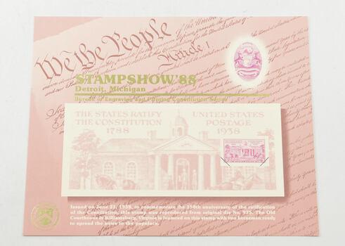 RARE - 1988 Stamp Show Constitution Series - BEP Souvenir Card