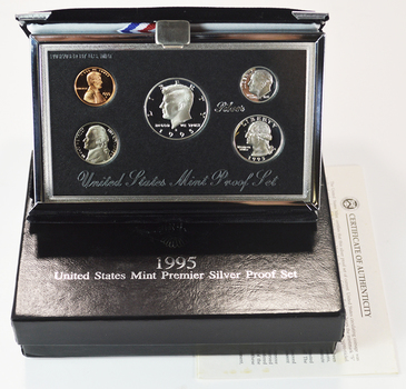Rare 1995 U.S. Premier Silver Proof Set In Mint Packaging With COA - Contains 3 Silver Coins