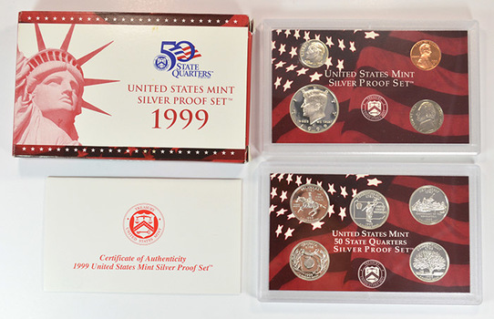 Rare - 1999 Silver Proof Set - First Year State Quarters - 90% Silver - Key to Set