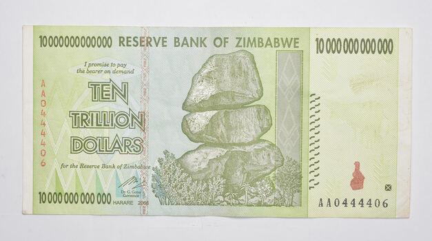 RARE 2008 10 TRILLION Dollar - Zimbabwe Note - 100/50 Series