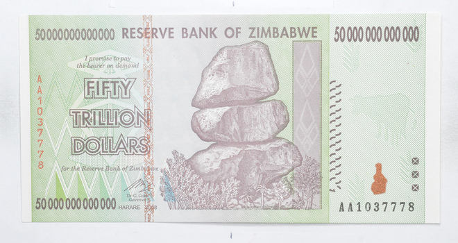 RARE 2008 50 TRILLION Dollar - Zimbabwe - Uncirculated Note - 100 Series