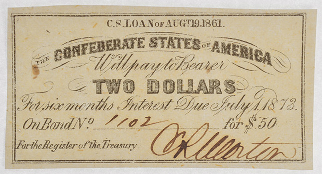 Rare Authentic 1861 $2 Confederate Bond Coupon - Hand Signed And Numbered