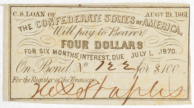 Rare Authentic 1861 $4 Confederate Bond Coupon - Hand Signed And Numbered