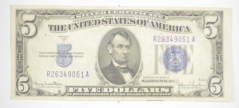 RARE - Crisp 1934-D - Silver Certificate $5.00 Very Tough in Higher Grade!