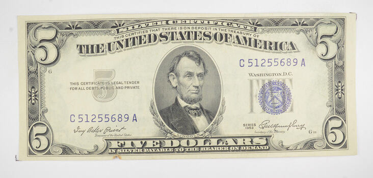 RARE - Crisp 1953 - Silver Certificate $5 Blue Seal $5.00 Higher Grade!