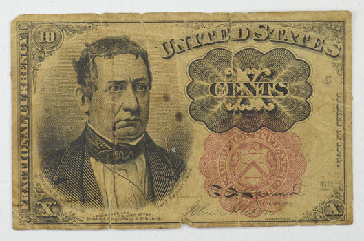 Rare - FRACTIONAL United States Currency 10 CENTS - 1870's - Very Collectible