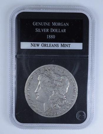 RARE Genuine- 1880-O New Orleans Mint Morgan Silver Dollar - Graded Morgan Silver Dollar