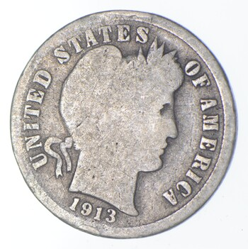 Rare - Key Date 1913-S Barber Liberty Silver Dime - Low Mintage
